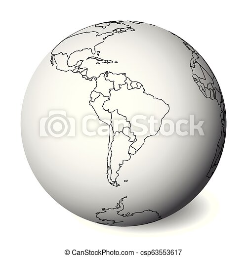 Map Of America 3d Vector.Blank Political Map Of South America 3d Earth Globe With Black Outline Map Vector Illustration