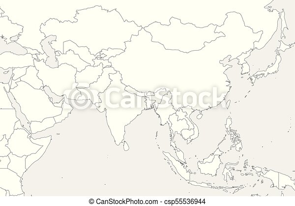 Blank political map of western, southern and eastern asia. thin ...