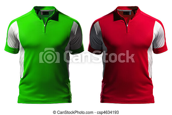 Blank Polo T Shirt Design Template Front With Zipper Isolated On
