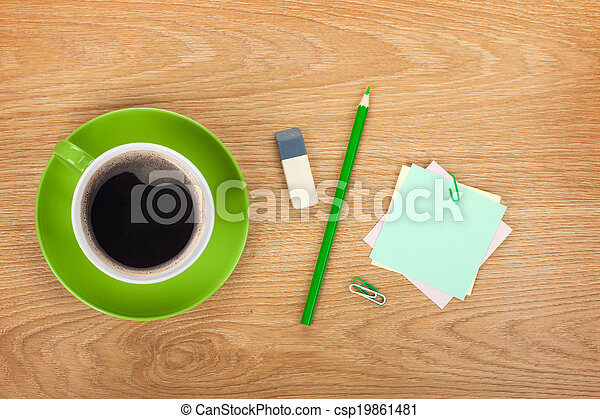 Blank post-it with office supplies and coffee cup - csp19861481