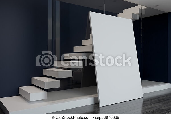 blank poster and white stairs behind wall - csp58970669