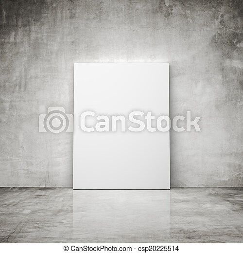 Concrete Room With Blank Poster Stock Photography