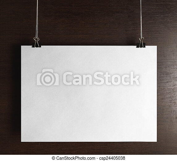 Blank Poster Hanging On Wooden Background Front View