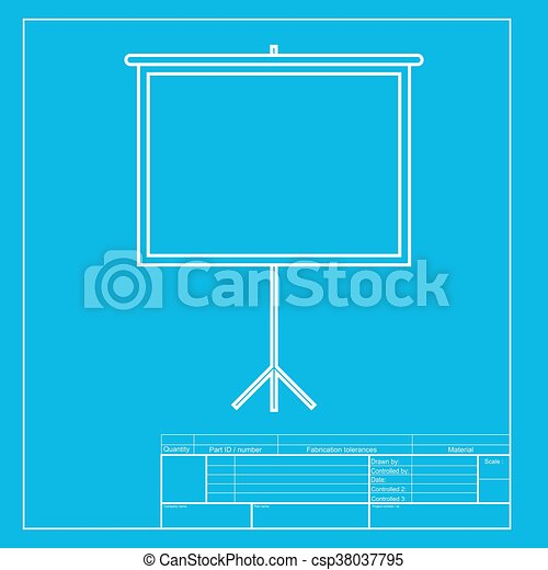 Blank projection screen white section of icon on blueprint template malvernweather Images