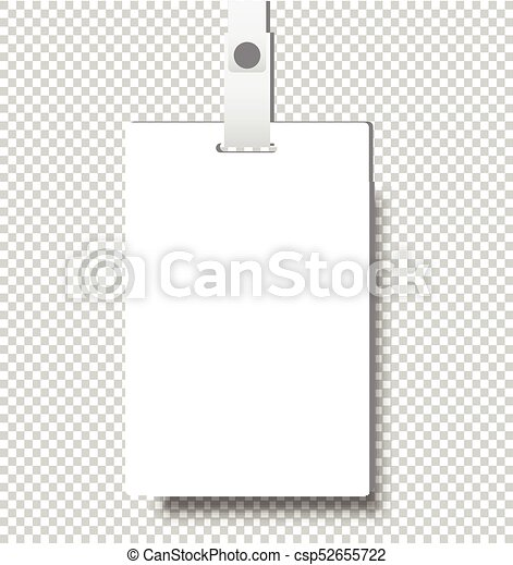 Blank Realistic Identity Card Badge With Ribbon Mockup Cover
