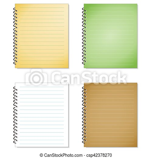 Blank realistic spiral notepad notebook set isolated on white vector.
