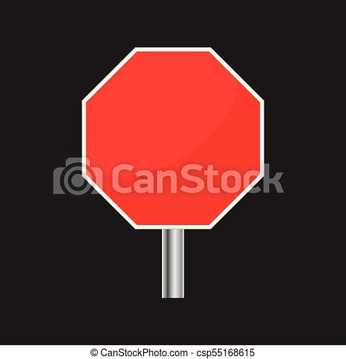 Blank red stop sign vector icon  Empty danger symbol vector illustration