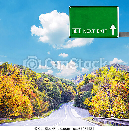 Blank road sign against clear blue sky - csp37475821