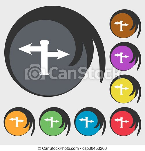 Blank Road Sign Icon Sign Symbols On Eight Colored Buttons Vector