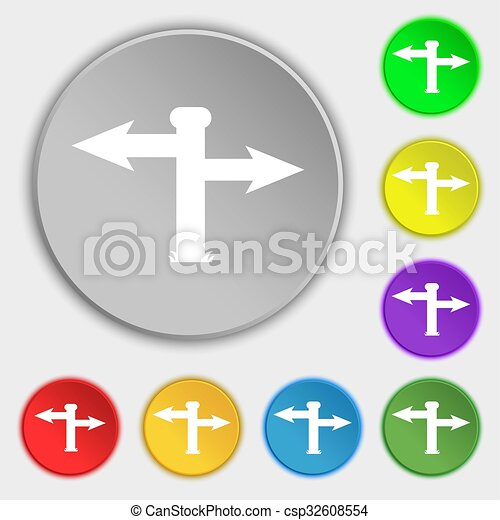 Blank Road Sign Icon Sign Symbols On Eight Flat Buttons Illustration