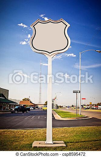 Blank road sign Interstate. - csp8595472