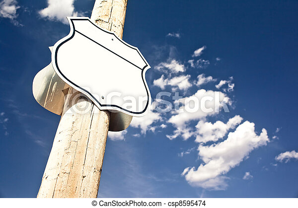 Blank road sign Interstate. - csp8595474