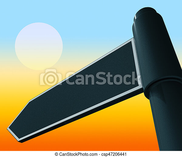 Blank Road Sign Representing Copy Space 3d Illustration - csp47206441