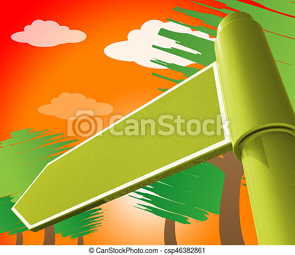 Blank Road Sign Representing Copyspace Note 3d Illustration - csp46382861