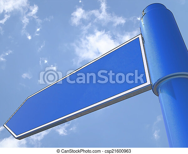 Blank Road Sign Shows Copy space For Message - csp21600963