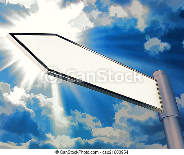 Blank Road Sign Shows Copy space For Message - csp21600954