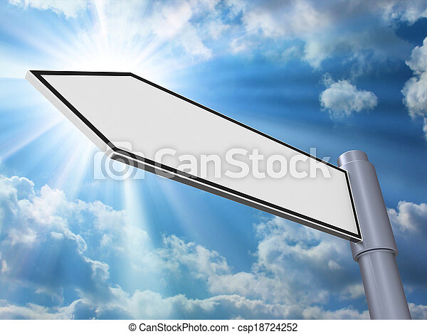 Blank Road Sign Shows Copyspace For Message - csp18724252
