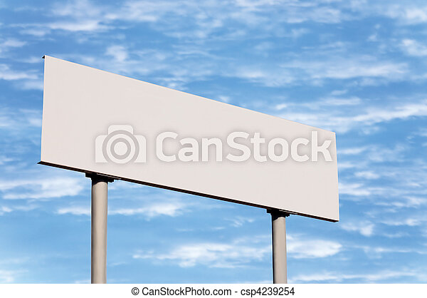 Blank Road Sign Without Frame Against Sky - csp4239254