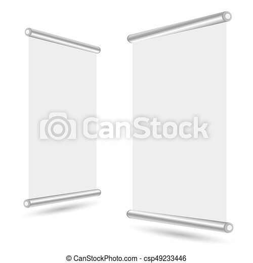 Blank roll-up banner stand template. roll up banner display... eps ...