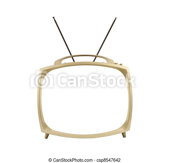 Blank Screen 1950's Portable Television with Antennas Up - csp8547642