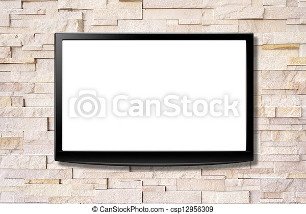 Blank screen LCD tv hanging on a wall - csp12956309
