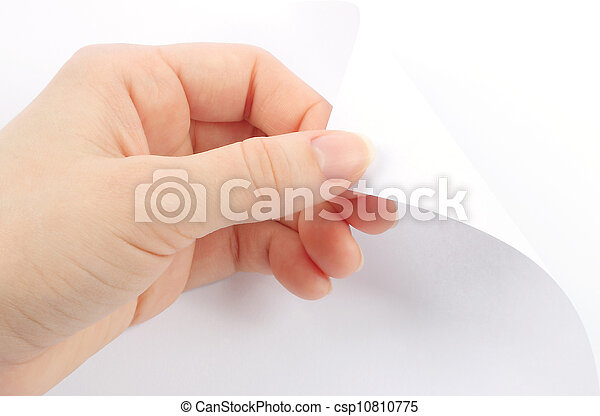 Blank sheet of paper with hand close-up - csp10810775