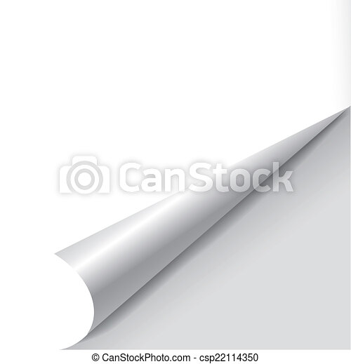 blank sheet of paper with page curl   - csp22114350