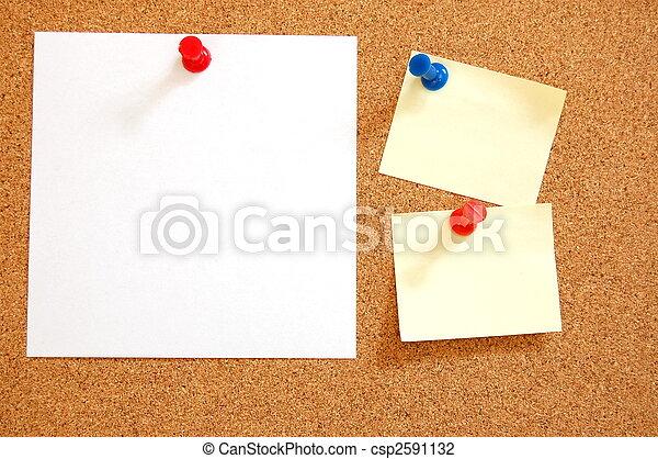 blank sheet paper on bulletin board - csp2591132