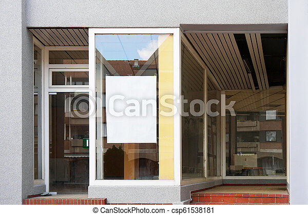 blank sign in empty store window - csp61538181