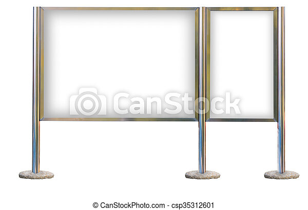 Blank signboard template for text on silver pole. Blank signboard ...