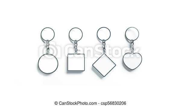 Blank silver key chain mock up top view set, 3d rendering
