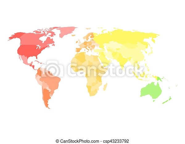blank simplified political map of world in different colors of each continent csp43233792