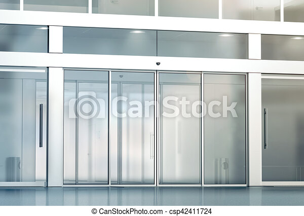 Blank sliding glass doors entrance mockup 3d rendering. commercial automatic entry mock up. office building exterior template. closed transparent business ...  sc 1 st  Can Stock Photo & Blank sliding glass doors entrance mockup 3d rendering. commercial ...
