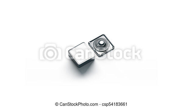 Blank Square White Metal Snap Button Mockup Isolated 3d Rendering