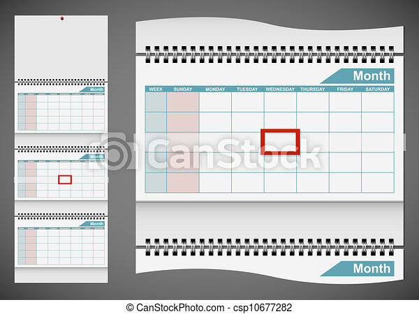 Blank standard wall calendar template isolated on gray background. EPS10 file. - csp10677282