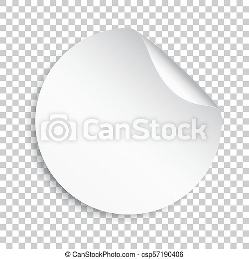 Blank sticker icon  Empty promotional label with peel off corner  Vector  illustration on isolated transparent background  Round paper banner sticker