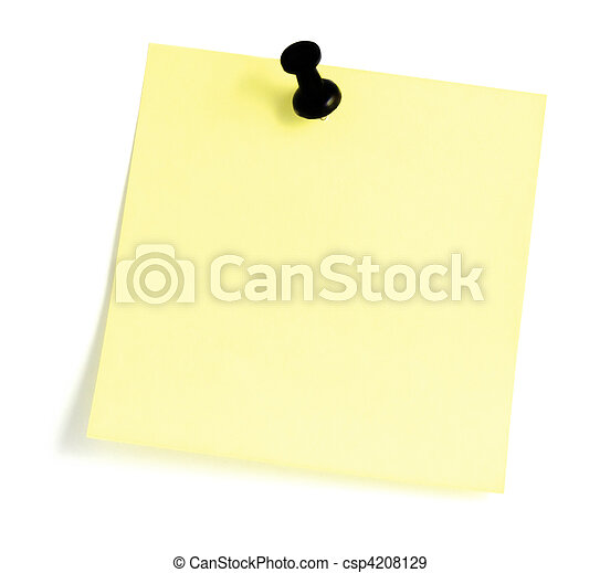 Blank Sticky note With Black Pushpin - csp4208129