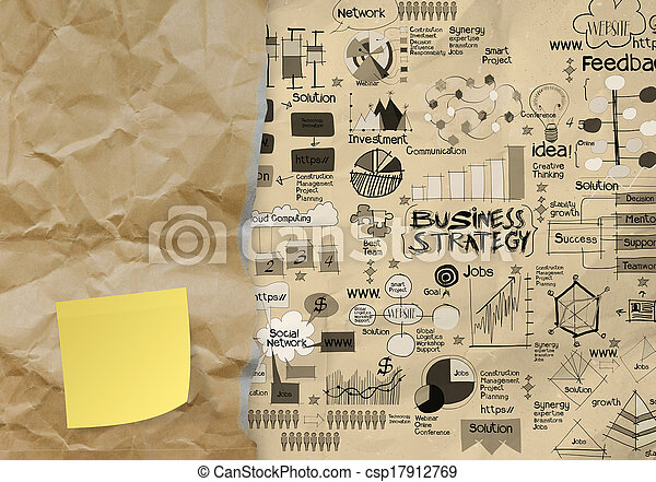 blank sticky note with hand draw business strategy on crumpled paper envelope background as concept - csp17912769