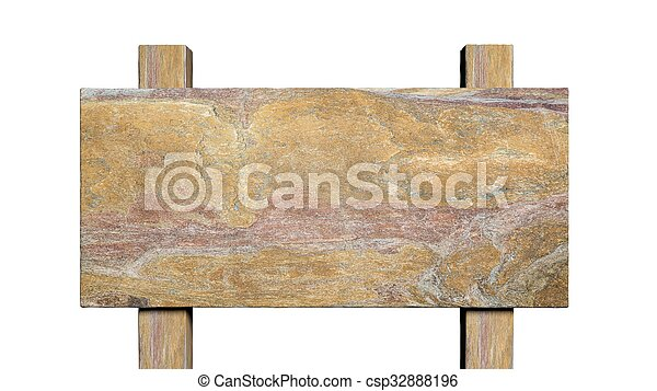 Blank stone road post, isolated on white background. - csp32888196