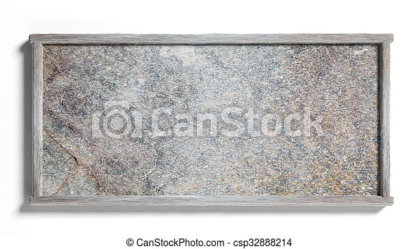 Blank stone sign post,isolated on white background. - csp32888214