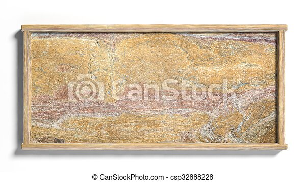 Blank stone sign post,isolated on white background. - csp32888228