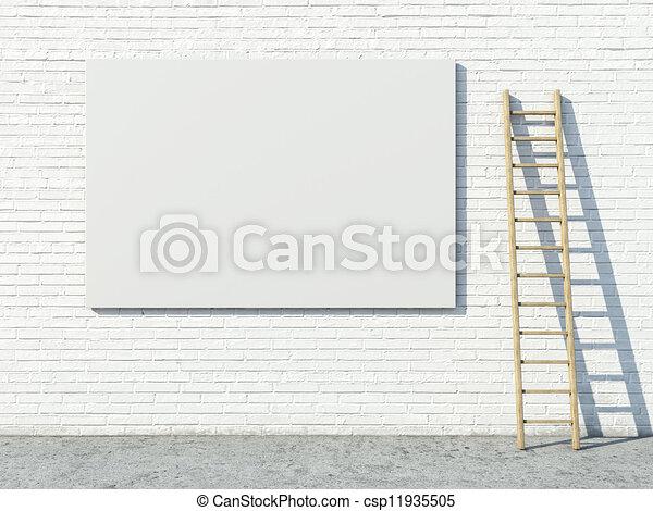 Blank street advertising billboard on brick wall - csp11935505