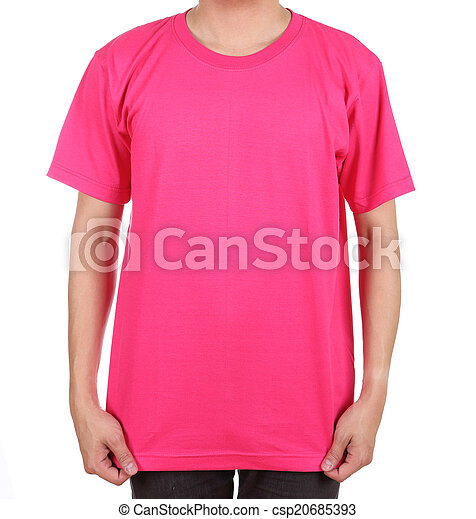 825c4d06 Blank t-shirt on man. Blank pink t-shirt on man (front side ...
