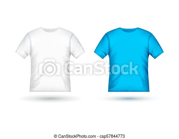 Blank T Shirt Template Clothing Fashion White And Blue Design With Sleeve Cotton Uniform