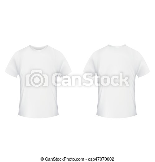 Blank t-shirt template. front and back side on a white... vector ...