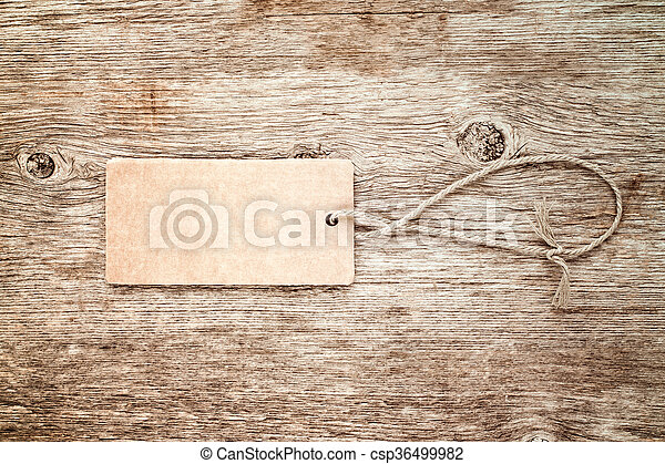 Blank tag tied with string - csp36499982