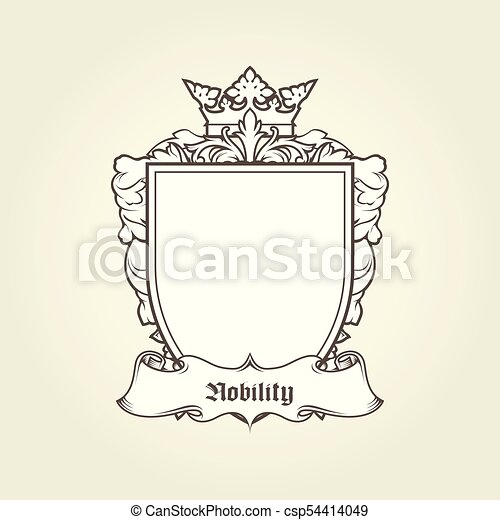 Blank template of coat of arms - shield with crown and banner, heraldic blazon - csp54414049