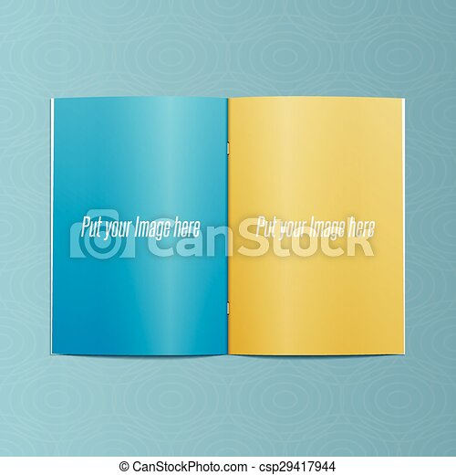 Blank Template of realistic opened Magazine - csp29417944