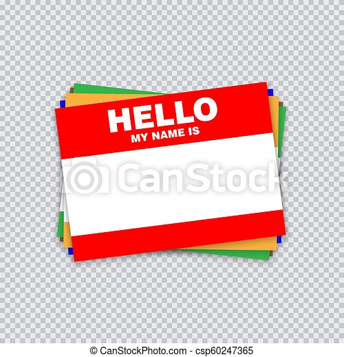 Blank Template Tag My Name Is Different Color Blank Stickers White Label Isolated On Transparent Background