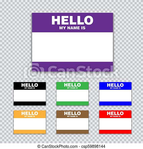 Blank template tag my name is  Set of color blank stickers white label with  shadows isolated on transparent background